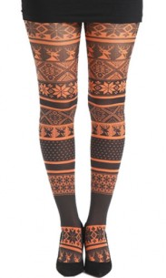 Collant fantaisie Fairisle orange