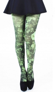 Collant fantaisie fleur Twilight vert