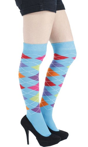 ad0aa1a5474 Chaussettes hautes fantaisie turquoise