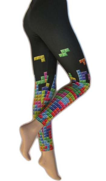 latest design factory outlet factory authentic Legging imprimé tétris noir et multicolore - Collants Fantaisie